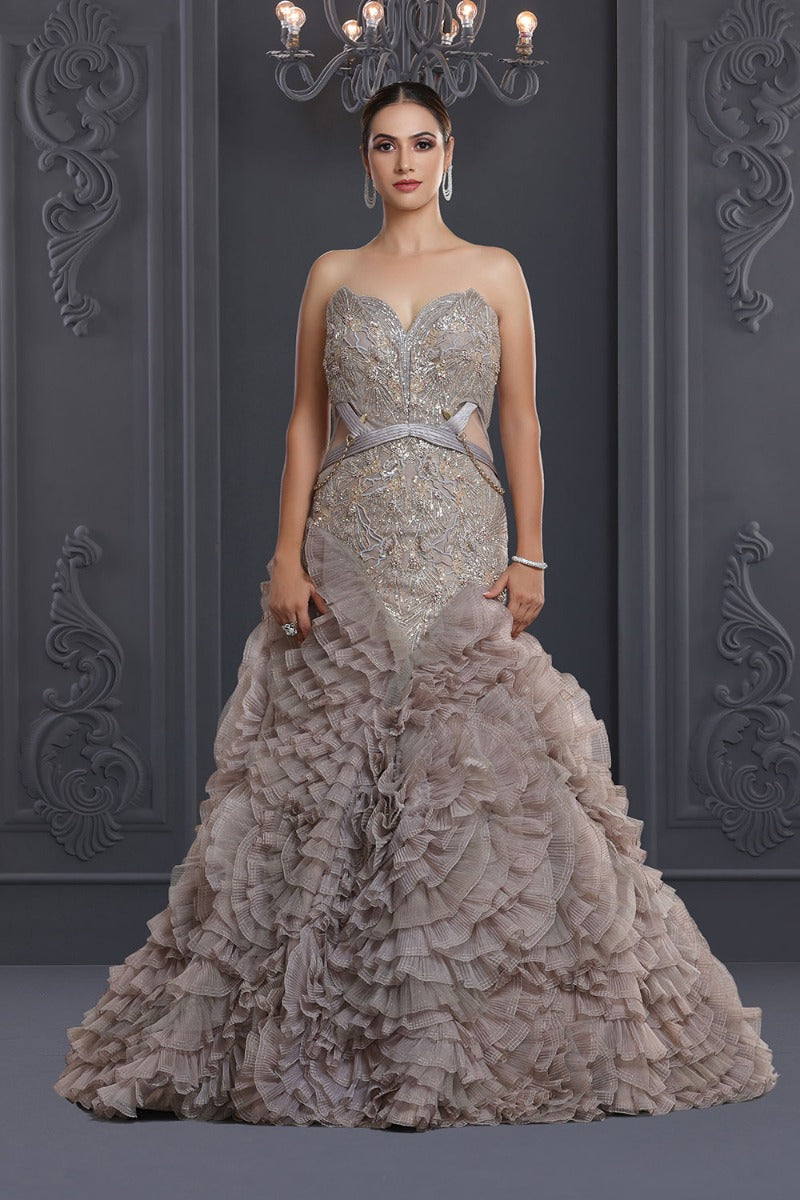 Abalon Grey & Gold Evening Gown