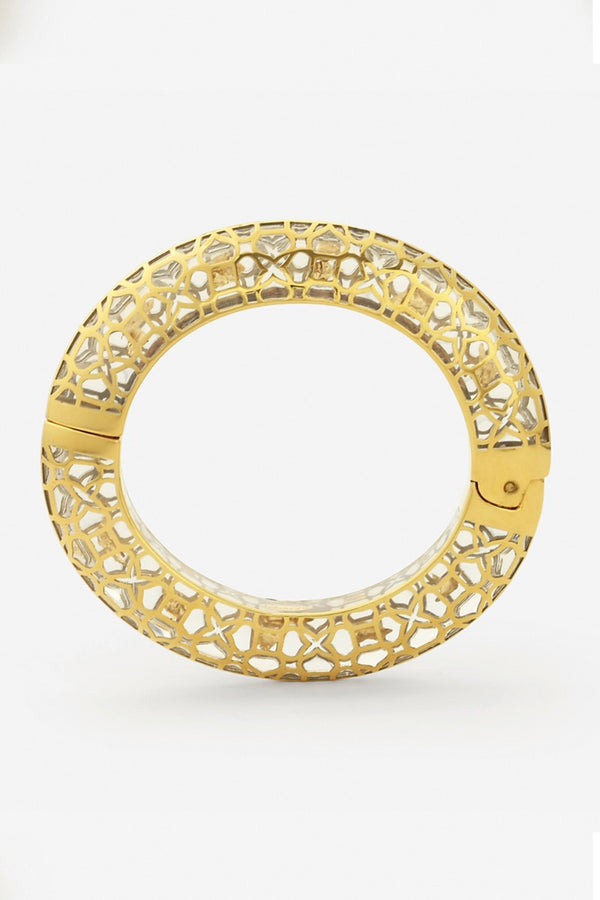temple muse gold flakes oval hinge bangle