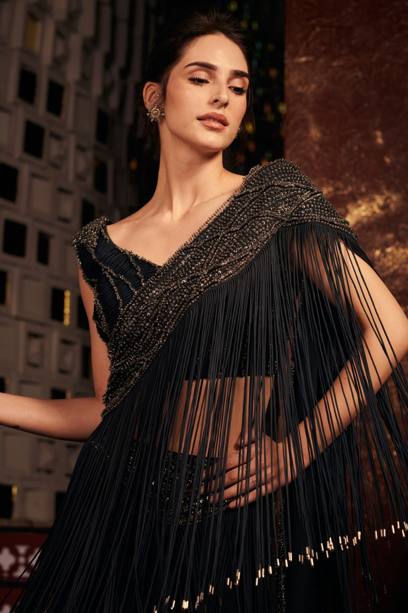 Black Fringe Saree