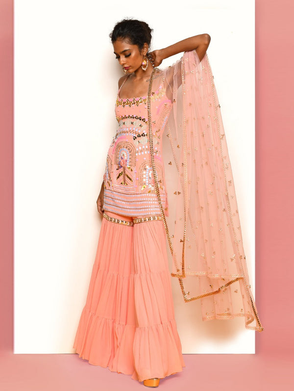 Peach Kurta + Sharara Set