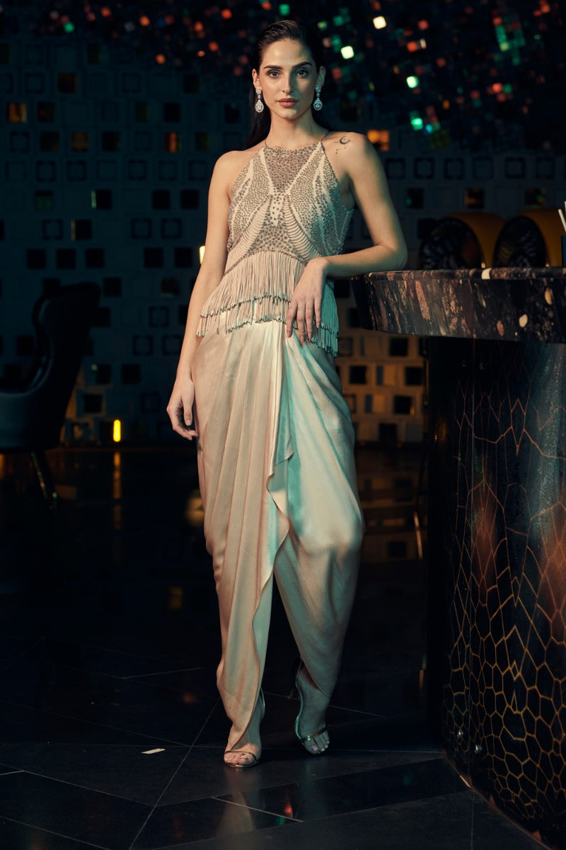 DOBRO TASSEL TOP WITH DRAPED TROUSERS