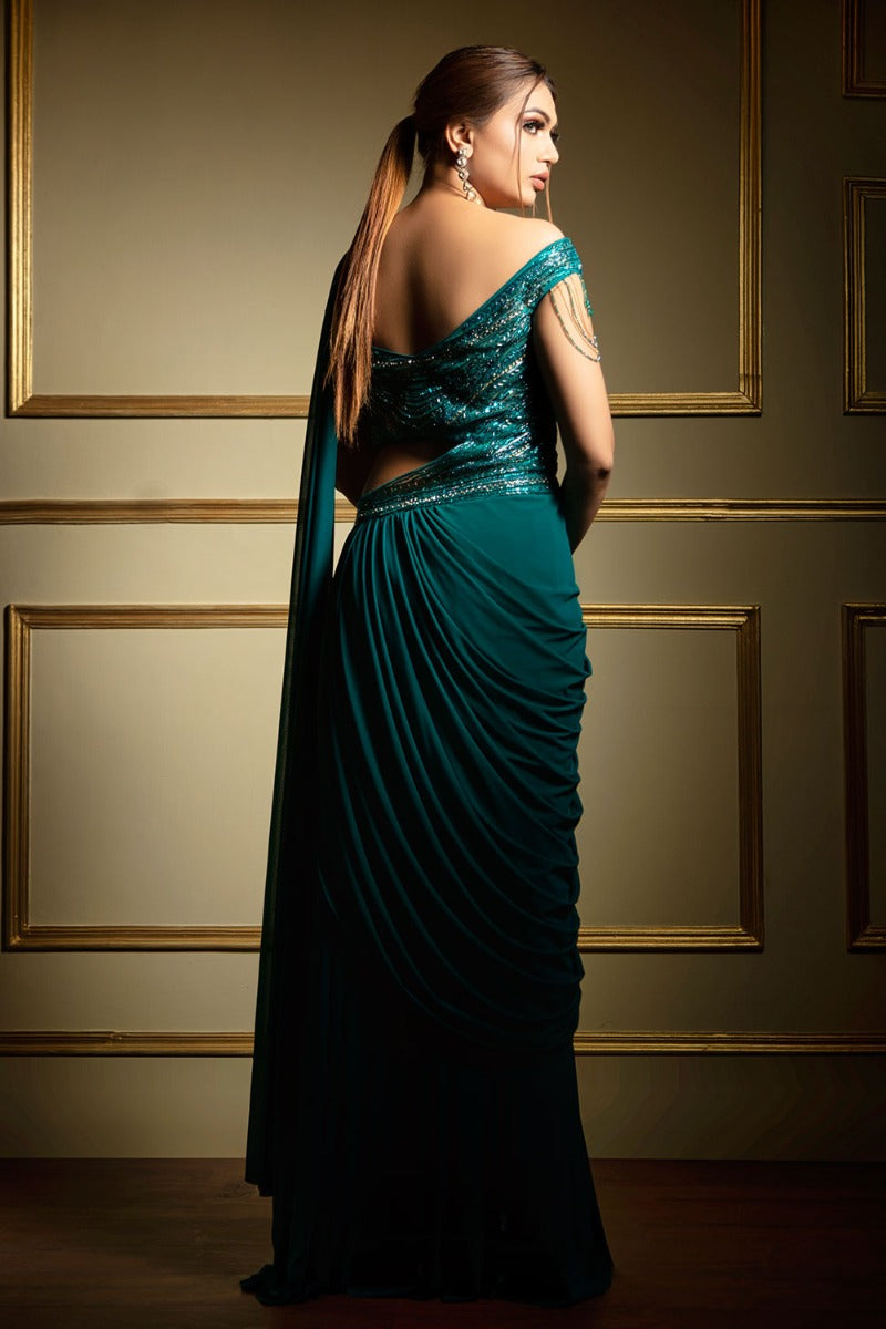 Rama-Green Drape Saree