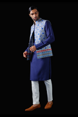Ivory and Blue Kurta & Churridar Set