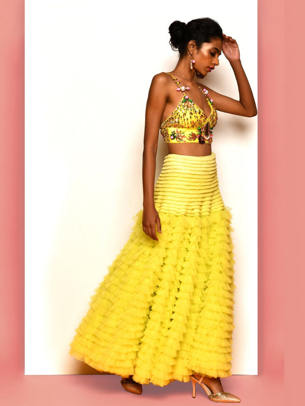Lime Yellow Half Lehenga Set
