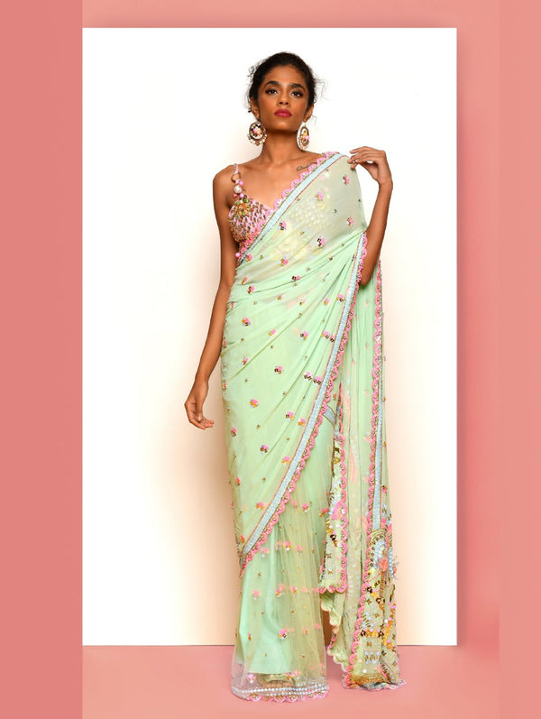 Mint Green & Lilac Saree Set