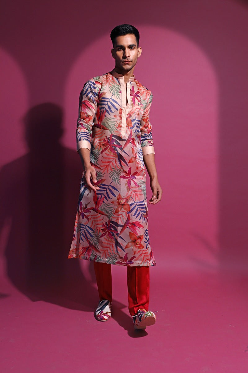 Nude Printed Kurta Set