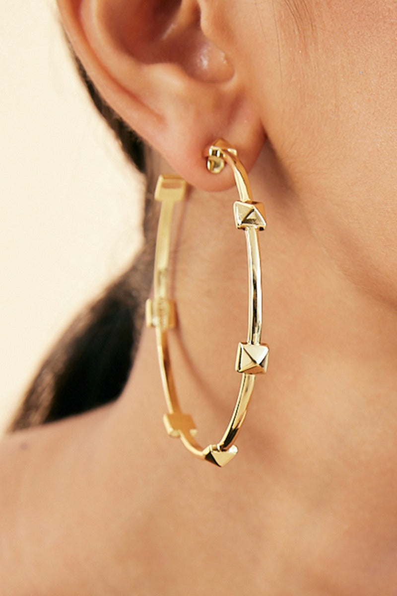 Demi Goddess Pyramid Stud Statement 3/4th Hoop Earrings