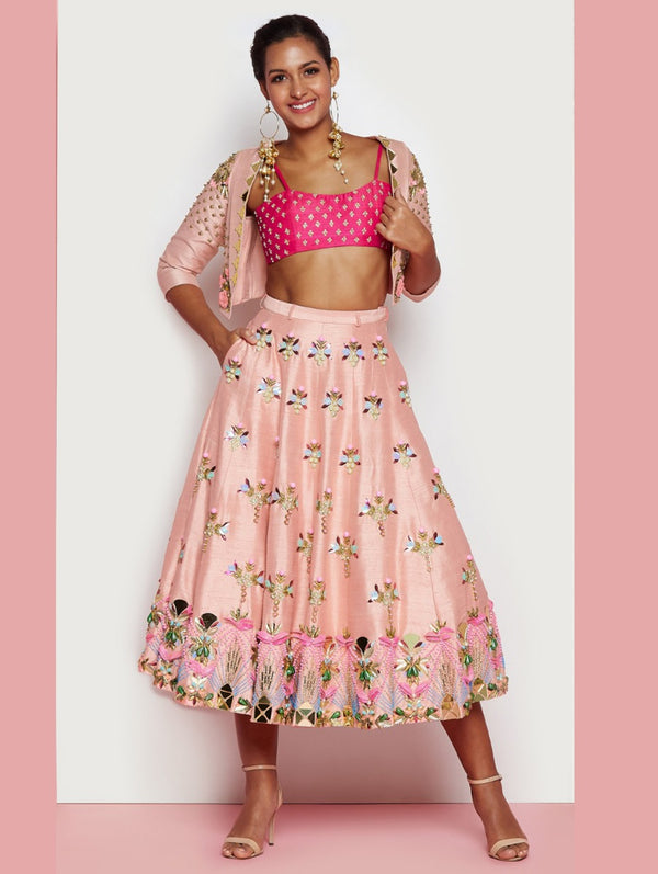 Blush & Hot Pink Half Lehenga Set