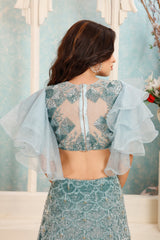 TEAL GREEN LEHENGA & FRILL SLEEVES TOP