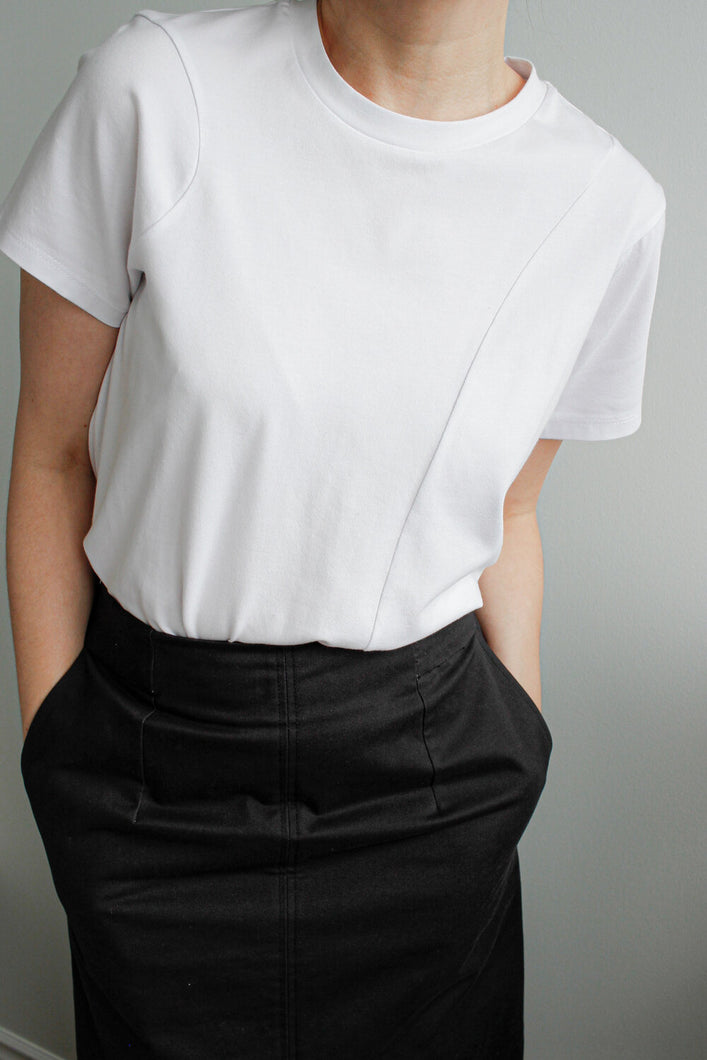 Asymmetric Cotton T-shirt in White