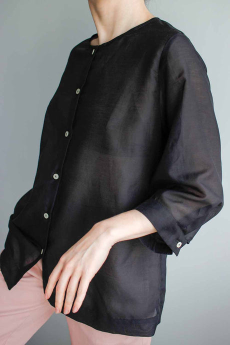 The Everyday Blouse in Black Cotton Batiste