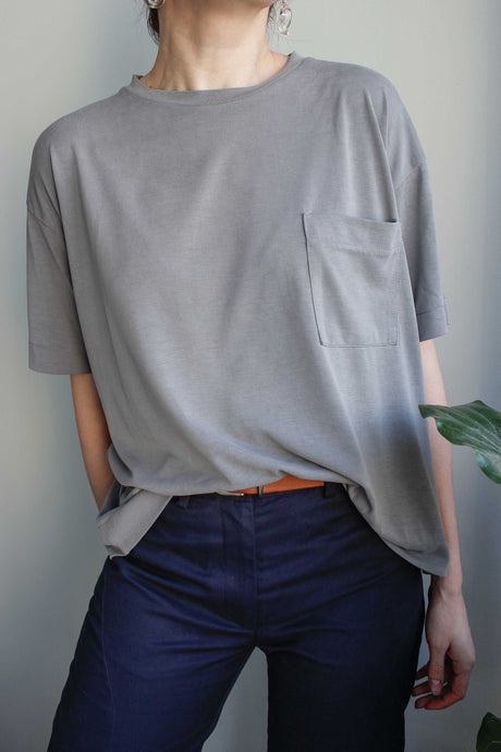 Oversized T-Shirt in Grey Viscose