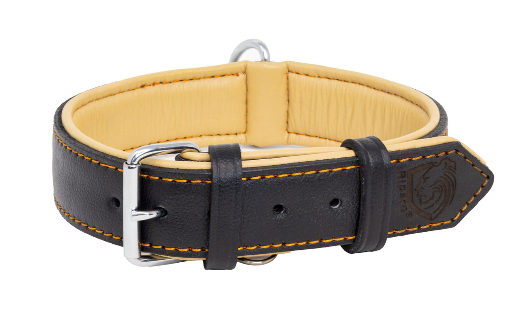 Riparo Genuine Leather Padded Dog Collar - Black/Orange Thread