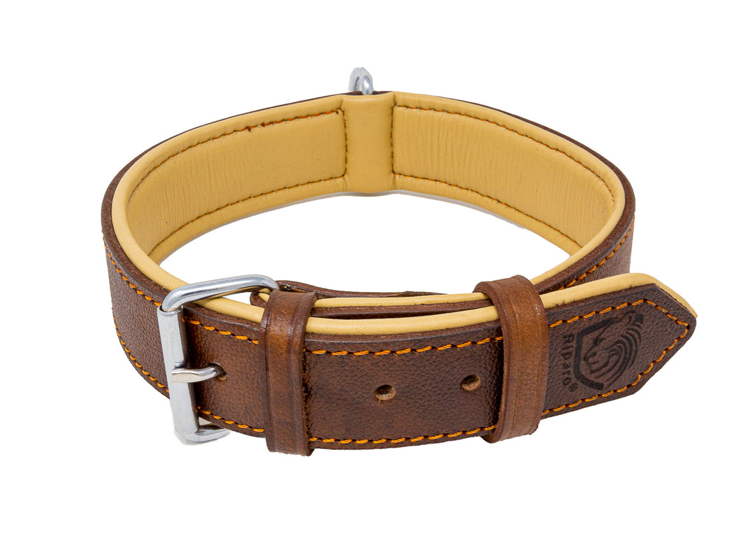 Riparo Genuine Leather Padded Dog Collar - Brown