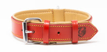 Load image into Gallery viewer, Riparo Genuine Leather Padded Dog Collar - Red