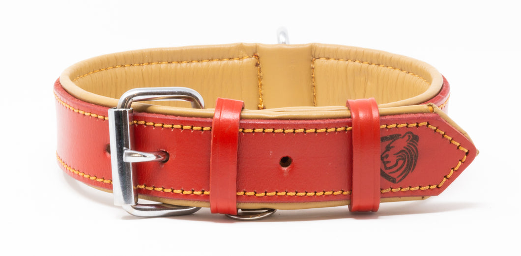 Riparo Genuine Leather Padded Dog Collar - Red