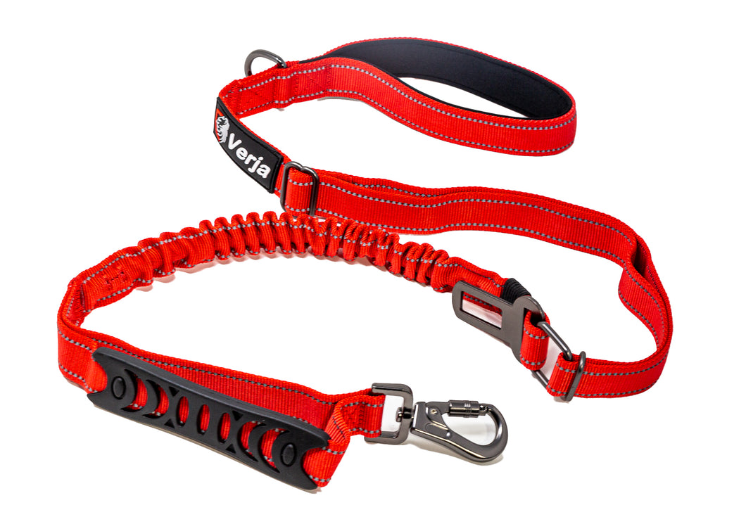 Dog Leash with Padded Handle, Multifunctional Dog Leashes for Medium & Large Dogs with Car Seat Belt, Reflective Threads, 4-6 FT Bungee Dog Leash - Red