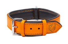 Load image into Gallery viewer, Riparo Genuine Leather Padded Dog Collar - Orange