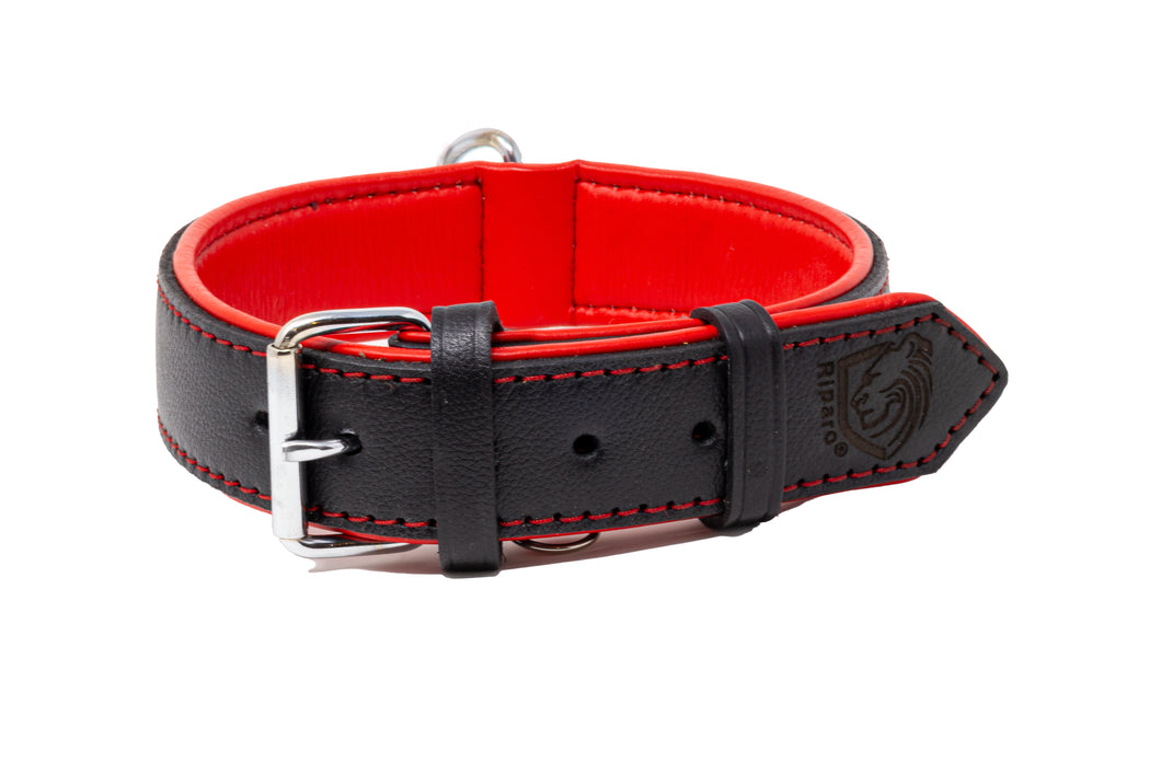 Riparo Genuine Leather Padded Dog Collar  - Black/Red Thread