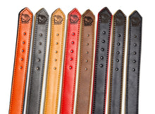 Load image into Gallery viewer, Riparo Genuine Leather Padded Dog Collar - Black/Orange Thread