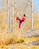 Somewhere in Colorado this lovely yogini is wearing our faery capris and tank in dry rose