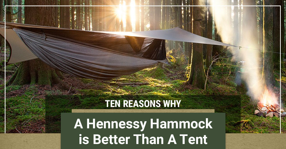 Ten Reasons Why a Hennessy Hammock is Better Than A Tent Banner with hammock and forest background