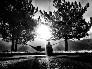 black and white backlit hammock - photo by cory