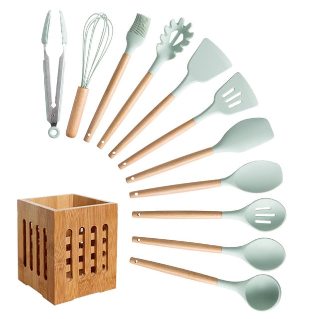 Silicone Cooking Utensils Set Non-Stick Spatula