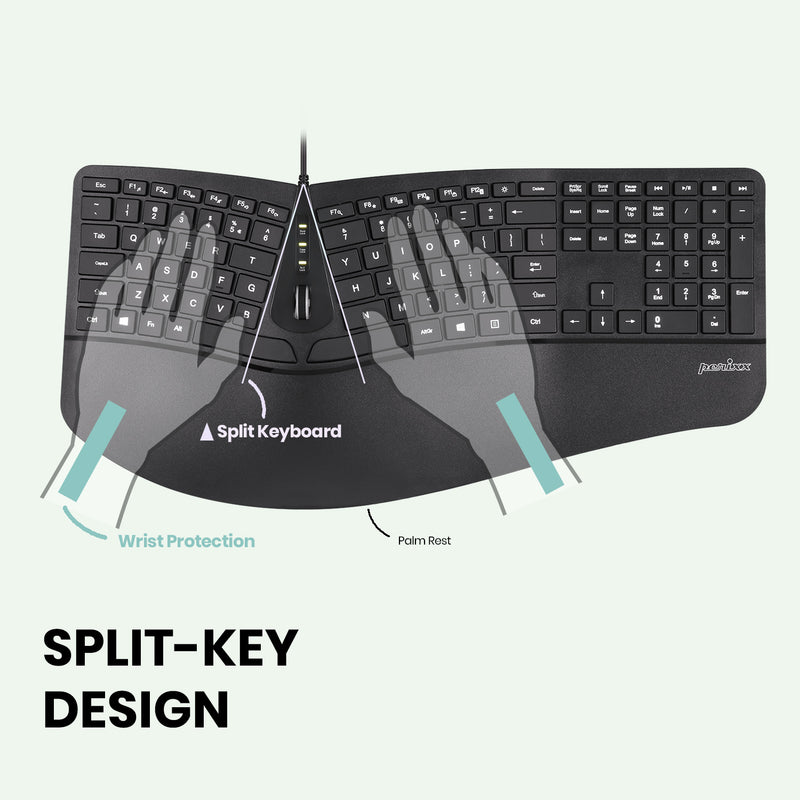 PERIBOARD-330 - Ergonomic Backlit Keyboard