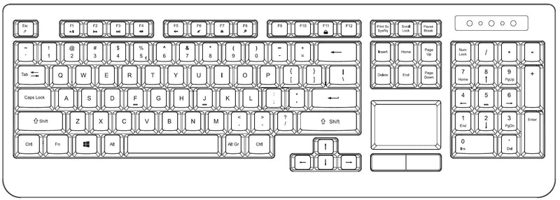 PERIBOARD-513 - Wired Touchpad Keyboard