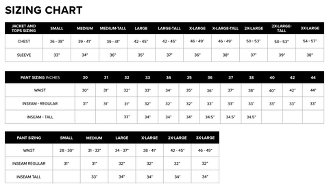 Sizing Chart - Tops and Bottoms