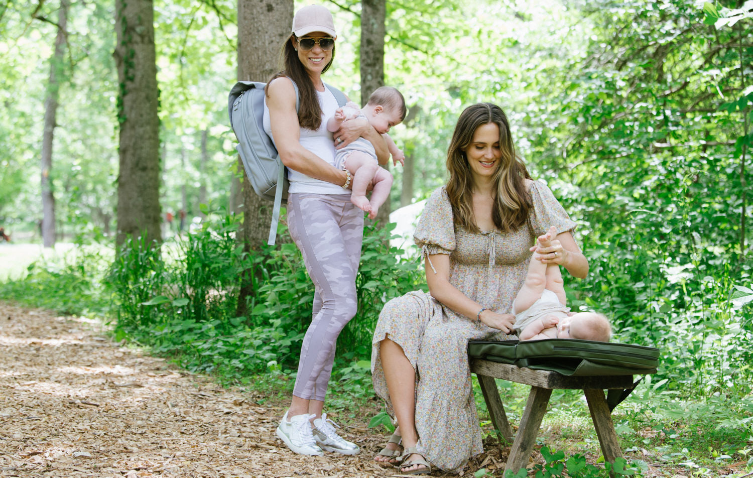 Two mothers on the trail with The Go Bag