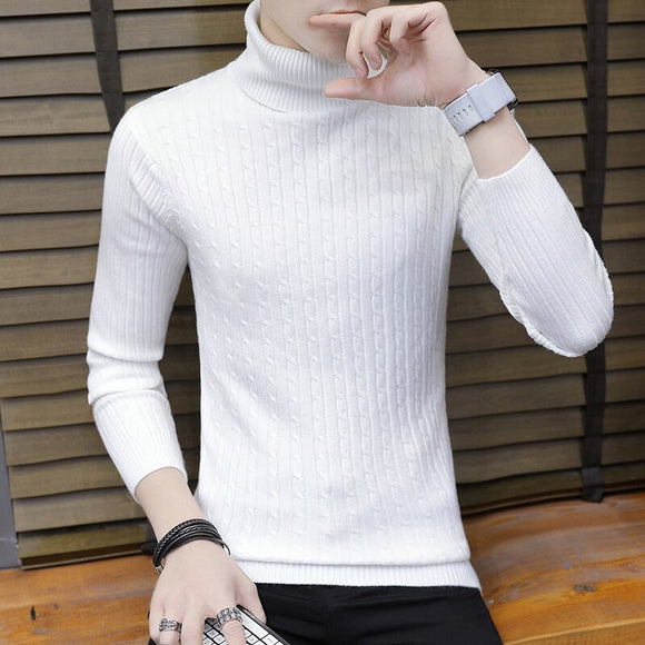2020 Men's Turtleneck Sweater Men's Slim Autumn and Winter New Casual Winter Knitwear Handsome Base Shirt