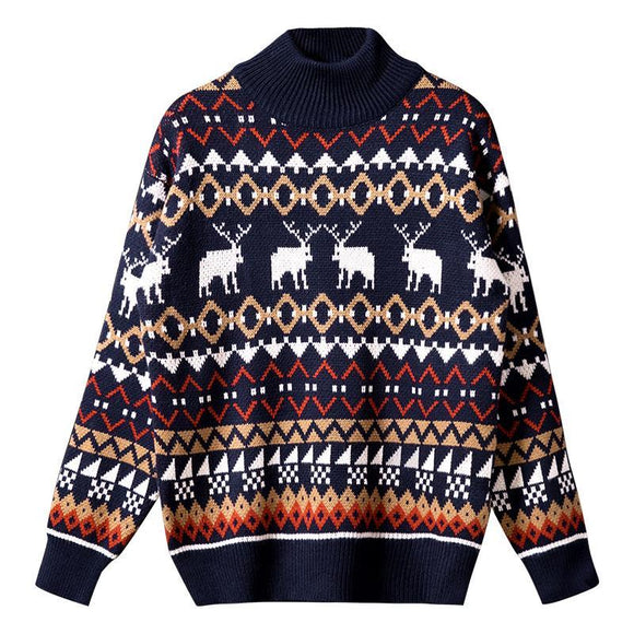 Red elk autumn and winter thickened lovers decorate body half high collar sweater men's trend students personalized T-shirt