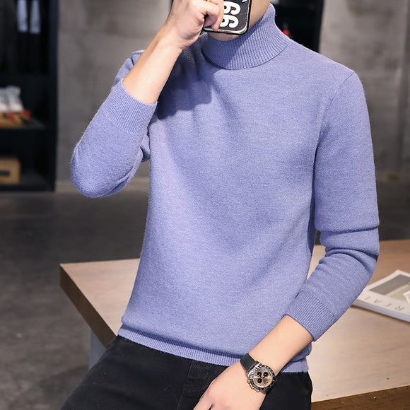 2020 hot-selling autumn new sweater men high neck Korean style slim handsome youth knit high neck sweater