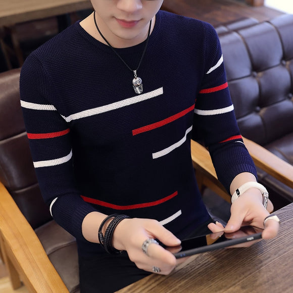 Autumn hot sale new men's V-neck sweater Korean fashion bottoming shirt pullover sweater youth slim line