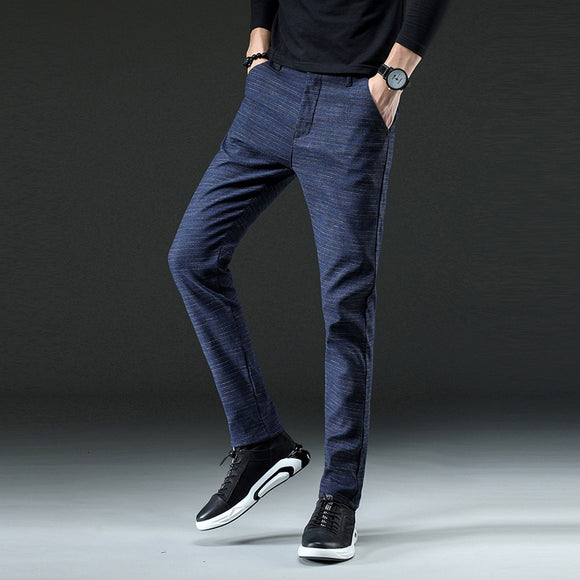 2019 Brand Men's Slim-fit Chinos Trousers Men Casual Pants Chino Business Fashion Leisure Elastic Straigh Trousers Male