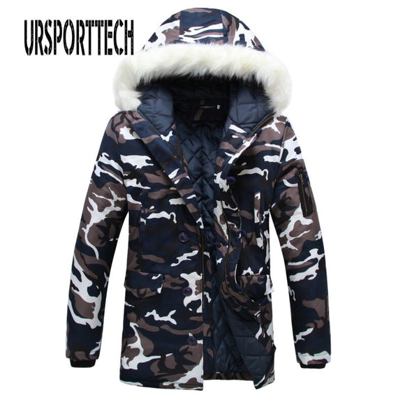 Camouflage Parka Mens Winter Jacket Men Big Fur Collar Fashion Middle Long Coats Plus Size Winter Coat Men Parka Homme 5XL