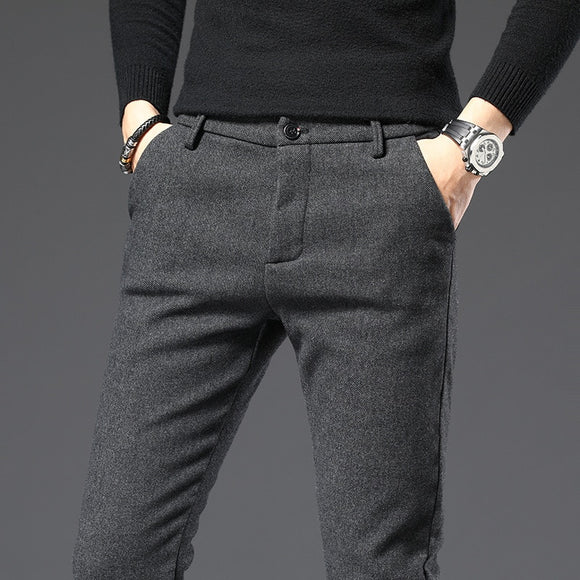 2020 Spring Autumn Winter New Men's Slim Casual Pants Fashion Business Stretch Thicken Trousers Male Brand Plaid Pant Black