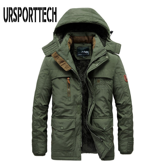 Thick Cotton Padded Parka Men Winter Jacket New Fashion Hooded Coat Multi-pocket Warm Outerwear Plus Size 5XL 6XL Mens Clothing