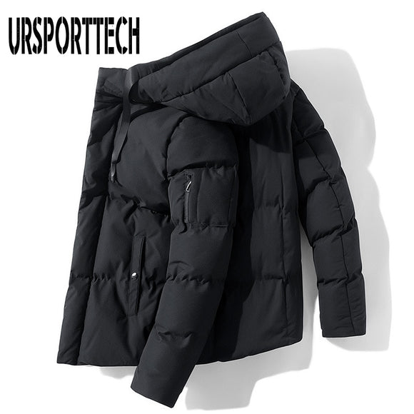 URSPORTTECH 2020 New Solid Color Winter Jacket Men Parka Fashion Casual Hooded Jacket Men Cotton Padded Parkas Coat Men Clothing