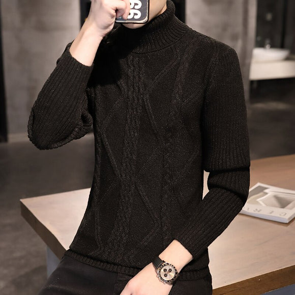 2020 hot sale autumn new wool sweater male high neck Korean style slim handsome youth casual knitted sweater