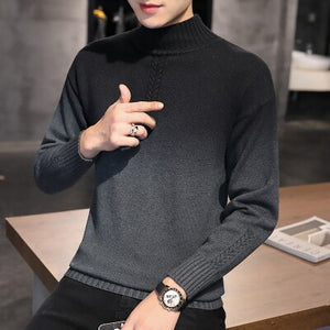 2020 fall hot-selling new woolen sweater men's half high neck Korean style slim handsome youth casual knitted sweater