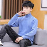 2020 new hot sale Fashion Men Sweaters Solid Color Turtleneck Long Sleeve Casual Pullover Knitted Sweater Men's Clothes