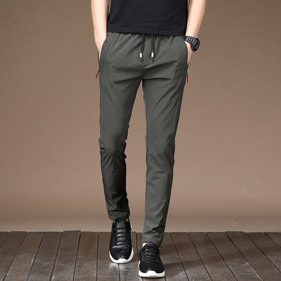 2020 Spring Summer New Casual Pants Men Business Fashion Casual Elastic Straigh Trousers Male Brand Gray Navy Black