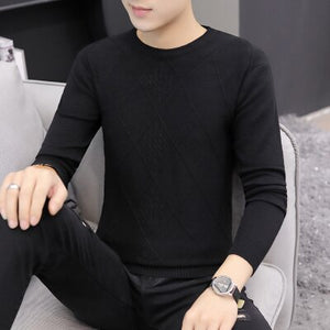 Men's sweater autumn new cardigan sweater men's round neck Korean slim handsome youth casual bottoming shirt men