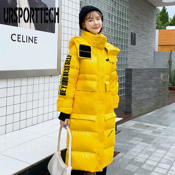 URSPORTTECH Glossy Hooded Winter Jacket Women X-Long Parkas Thick Warm Down Parka Ladies Oversized Puffer Jacket Outwear Coats