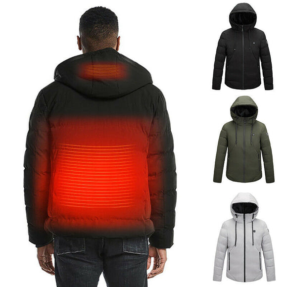 URSPORTTECH USB Electric Heated Warm Hooded Parka Mens Winter Jacket Rechargeable Heating Coat Thermal Jacket Skiing Outwear 5XL