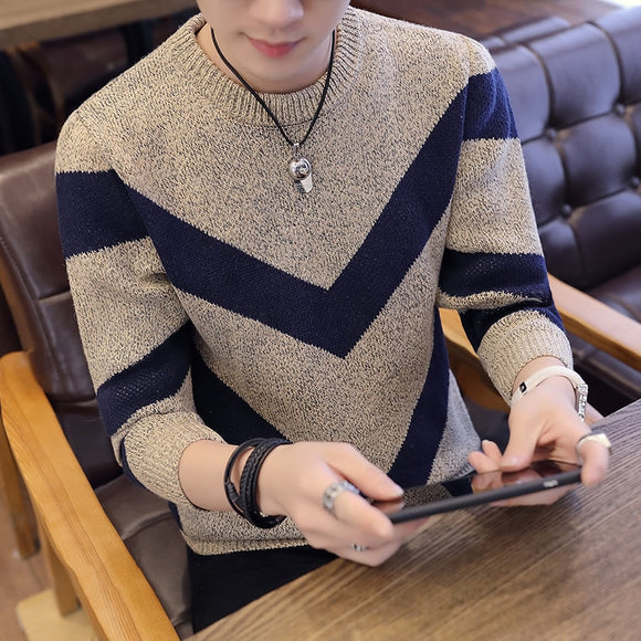 Sweater men's thick warmth round neck bottoming sweater sweater men's loose Korean men's sweater tide