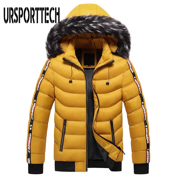 2020 New Hooded Fur Collar Winter Jacket Men Parka Men's Warm Thicken Windproof Hat Parkas Jacket Fashion Casual Hoodies Outwear